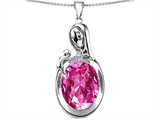 Star K™ Loving Mother With Child Family Pendant Necklace With Oval 11x9mm Created Pink Sapphire style: 304601