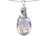 Star K™ Loving Mother With Child Family Pendant Necklace With Created Oval Pink Sapphire style: 304602