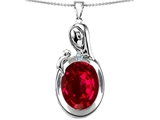 Star K™ Loving Mother With Child Family Pendant Necklace With Oval 11x9mm Created Ruby style: 304603
