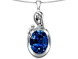 Star K™ Loving Mother With Child Family Pendant Necklace With Oval 11x9mm Created Sapphire style: 304604