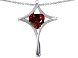 Star K™ Large Christian Cross Of Love Pendant Necklace With 8mm Heart Simulated Garnet style: 304629