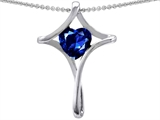 Star K™ Large Christian Cross Of Love Pendant Necklace With 8mm Heart Created Sapphire style: 304636