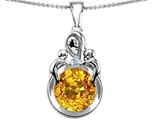Original Star K™ Large Loving Mother With Children Pendant With Simulated Round Citrine style: 304655