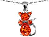 Star K™ Cat Pendant Necklace With Simulated Mexican Fire Opal style: 304668