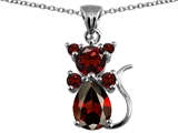 Star K™ Cat Pendant Necklace With Genuine Garnet style: 304669