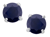 Star K™ Round 7mm Black Sapphire Earrings Studs style: 304680