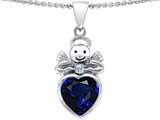 Star K™ Love Angel Pendant Necklace with 10mm Simulated Sapphire Heart style: 304706
