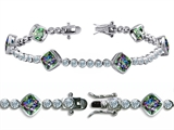 Star K™ High End Tennis Bracelet With 6pcs 7mm Cushion Cut Rainbow Mystic Topaz style: 304735