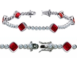 Star K™ High End Tennis Bracelet With 6pcs 7mm Cushion Cut Created Ruby style: 304739