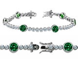 Original Star K™ High End Tennis Bracelet With 6pcs 6mm Round Simulated Emerald style: 304747