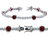 Star K™ High End Tennis Bracelet With 6pcs 6mm Round Genuine Garnet style: 304749