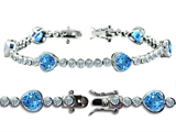Star K™ High End Tennis Bracelet With 6pcs 7mm Heart Shape Simulated Blue Topaz style: 304760