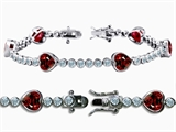 Original Star K™ High End Tennis Bracelet With 6pcs 7mm Heart Shape Genuine Garnet style: 304764