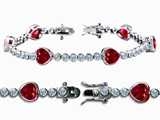 Original Star K™ High End Tennis Bracelet With 6pcs 7mm Heart Shape Created Ruby style: 304769