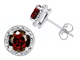 Star K™ Genuine 7mm Round Garnet and Diamond earring Studs style: 304776