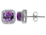 Star K™ Genuine 7mm Cushion Cut Amethyst and Diamond earring Studs style: 304793