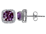 Original Star K™ Created 7mm Cushion Cut Simulated Alexandrite And Genuine Diamond Earrings style: 304794