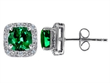 Original Star K™ Simulated 7mm Cushion Cut Emerald And Genuine Diamond Earrings Studs style: 304796