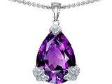 Star K™ Large 17x11 Pear Shape Simulated Amethyst Designer Pendant Necklace style: 304875