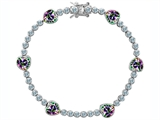 Original Star K™ Classic Heart Shape 7mm Rainbow Mystic Topaz Tennis Bracelet style: 304886