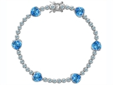 Original Star K™ Classic Heart Shape 7mm Simulated Blue Topaz Tennis Bracelet style: 304888