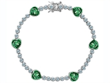 Star K™ Classic Heart Shape 7mm Simulated Emerald Tennis Bracelet style: 304890