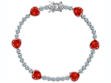 Original Star K™ Classic Heart Shape 7mm Simulated Mexican Fire Opal Tennis Bracelet style: 304896