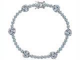 Star K™ Classic Heart Shape White Topaz Tennis Bracelet In style: 304899