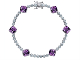 Star K™ Classic Cushion Cut 7mm Genuine Amethyst Tennis Bracelet style: 304901
