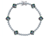 Star K™ Classic Cushion Cut 7mm Rainbow Mystic Topaz Tennis Bracelet style: 304903