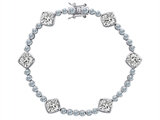 Original Star K™ Classic Cushion Cut 7mm Genuine White Topaz Tennis Bracelet style: 304907