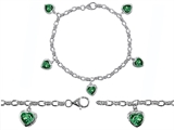 Star K™ High End Tennis Charm Bracelet With 5pcs 7mm Heart Shape Simulated Emerald style: 304935