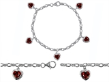 Star K™ High End Tennis Charm Bracelet With 5pcs 7mm Heart Shape Genuine Garnet style: 304936
