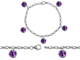 Star K™ High End Tennis Charm Bracelet With 5pcs 7mm Genuine Round Amethyst style: 304944