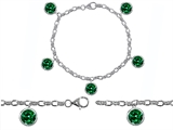 Star K™ High End Tennis Charm Bracelet With 5pcs 7mm Round Simulated Emerald style: 304949