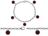 Star K™ High End Tennis Charm Bracelet With 5pcs 7mm Round Genuine Garnet style: 304950