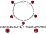 Original Star K™ High End Tennis Charm Bracelet With 5pcs 7mm Round Created Ruby style: 304955