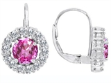 Star K™ Lever Back Dangling Earrings With 6mm Round Created Pink Sapphire style: 304964