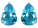 Star K™ Pear Shape 9x7mm Genuine Blue Topaz Earrings Studs style: 305005