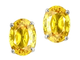 Tommaso Design™ Oval 7x5mm Genuine Yellow Sapphire Earrings Studs style: 305011
