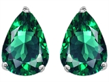 Star K™ Pear Shape 9x7mm Simulated Emerald Earrings Studs style: 305016