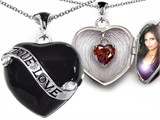 Star K™ True Love Black Enamel Locket Necklace With 7mm Heart Garnet Surprise style: 305027