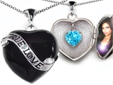 Star K™True Love Black Enamel Locket Necklace With 7mm Heart Simulated Aquamarine Surprise style: 305028