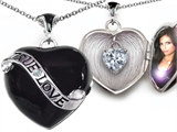 Star K™ 1.25 Inch Genuine True Love Black Enamel Locket Necklace With Heart White Topaz Surprise style: 305036