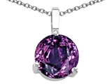 Tommaso Design™ 7mm Round Simulated Alexandrite Pendant Necklace style: 305057