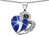 Star K™ Created Heart Shape Star Sapphire Pendant Necklace style: 305060
