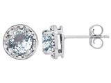 Tommaso Design™ Genuine 6mm Round Aquamarine and Diamond earring Studs style: 305063