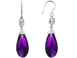 Star K™ Briolette Drop Cut Simulated Amethyst Hanging Hook Chandelier Earrings style: 305068