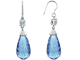 Star K™ Briolette Drop Cut Simulated Aquamarine Hanging Hook Chandelier Earrings style: 305069