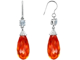 Star K™ Briolette Drop Cut Simulated Mexican Fire Opal Hanging Hook Chandelier Earrings style: 305072